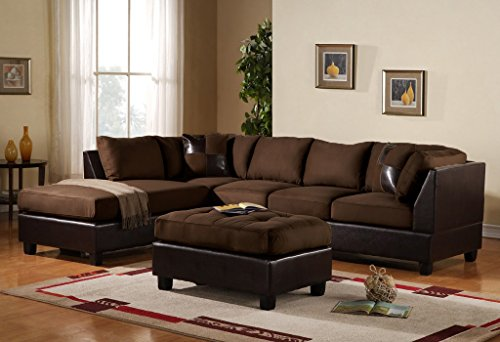 3 Piece Modern Microfiber Faux Leather Sectional Sofa with Ottoman, Color Hazelnut, Beige, Chocolate and Grey (Chocolate) - Chocolate Leather Sectional Sofa