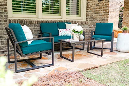 (Leisure Made Jasper 4 Piece Outdoor Seating, Peacock)