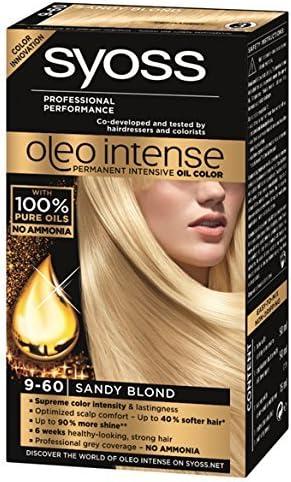 Syoss Oleo Intense Tinte para el cabello 100% aceites puros, 0% amoníaco 9-60 rubio arenoso