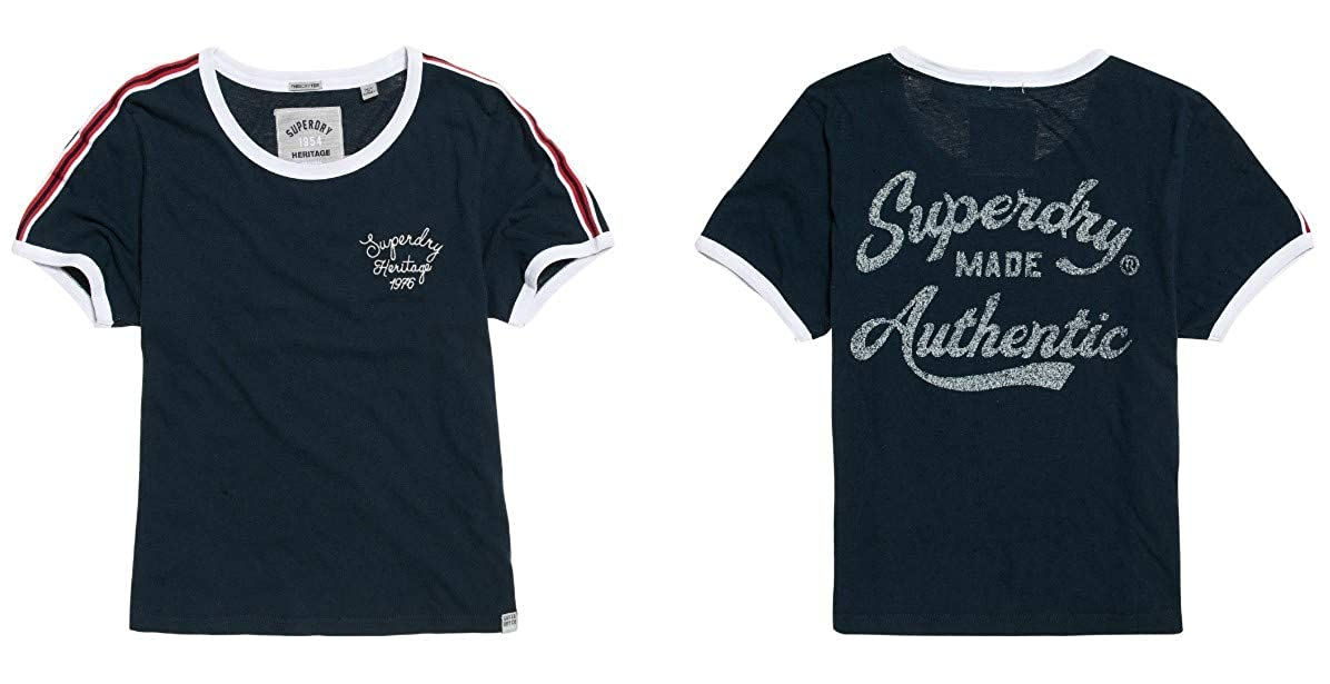 Superdry Heritage Embroidery Ringer Box T-Shirt Donna