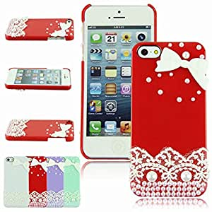 CXB1983 Best Seller Hard Back case Handmade 3D Bow Lace Pearl Case Cover For iPhone 5 5S