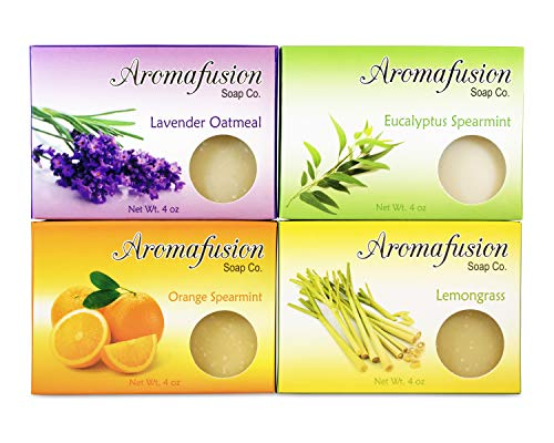 Aromafusion Soap Co – Handmade Soap 4-Pack, Wood Soap Dish, Bar Soap Gift Set, All Natural Soap, (Lavender, Lemongrass, Orange, Eucalyptus)