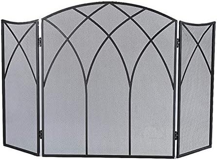 暖炉スクリーン 大型フラットガード暖炉スクリーン、屋外錬鉄金属の装飾メッシュ、ベビーセーフ耐火パネルウッドバーニングストーブアクセサリー、ブラック、31 H×50 W
