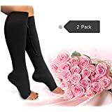 Zipper Compression Socks Toe Open for Varicose Veins and Edema , Unisex Zipper Design Easy to Wear (2 pack)