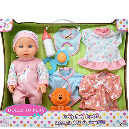 Baby Doll with Clothes, Includes Newborn Accessories and Toys for Dolls, Realistic 12 Inch Vinyl Doll 8 Piece Set for Girls, Toddlers and Kids, 4 Baby Clothes, Bib, Soft Rubber Lion and Feeding Bottle