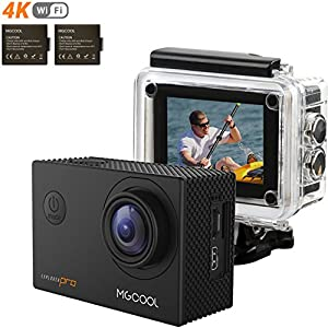 "Today 55% OFF! MGcool Explorer-Pro 4K Action Camera, 2.0 Inch 170°Wide Angle ""SHARKEYE"" Lens 16MP Ultra HD Waterproof Sports Action Cam with SONY Sensor and 2 Batteries, Best Gift for Father's Day"