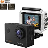 MGCOOL PRO 4K 16MP WIFI Action Camera Sony Sensor 2.0 Inch Ultra HD Underwater Waterproof Sports Action Cam with 2 Batteries and Helmet Accessories Kit, Christmas Gift