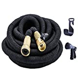 PhoebusTech 100ft Expandable Garden Hose Set, Extends to 100ft Handy & Kink-Free, 5000 Denier Woven Casing with a 8-Pattern Spray Gun, Hook, Brass Fittings, Free Storage Bag