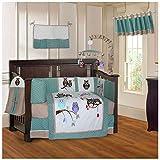 BabyFad Owl Turquoise 10 Piece Baby Crib Bedding Set