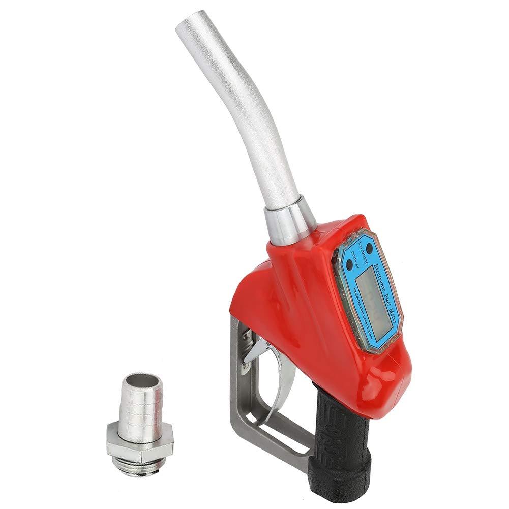 """Pistolet pour pompe /à gasoil en m/étal Buse de compteur de carburant,Pistolet de distribution avec compteur digital 60 l//min 1/"""""""