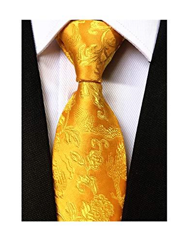 Men's Gold Yellow Floral Silk Tie Dragon Jacquard Luxurious Banquet Prom Necktie