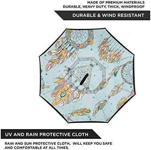 ドリームキャッチャー ユニセックス二重層防水ストレート傘車逆折りたたみ傘C形ハンドル付き