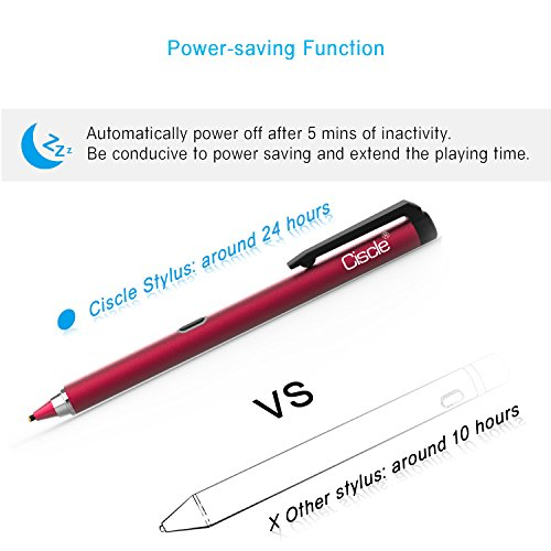 Active Stylus Pen, Ciscle Capacitive Digital Pen, 5 Mins Auto Power Off with High Precision Sensitivity 1.5mm Copper Tip, Fine Point Stylus for Touch Screen Devices, iPad/iPhone/Android Tablets-Red by Ciscle (Image #2)