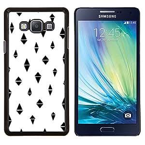 Stuss Case / Funda Carcasa protectora - Blanco Minimalista Patrón Negro - Samsung Galaxy A7 ( A7000 )