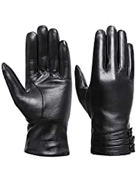 Women Winter Warm Gloves - Acdyion Genuine Leather Touch Screen Driving Gloves