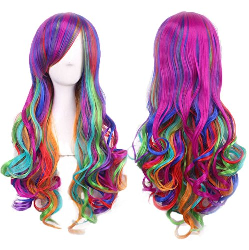[Multicolor Women Wig Long Curly Full Head Wigs Heat Resistant with Fringe Thick Wavy Hair Periwig Extensions Hairnet in Color Gradient Hairpiece for Cosplay Masquerade Costume] (Nutcracker Costumes For Sale)