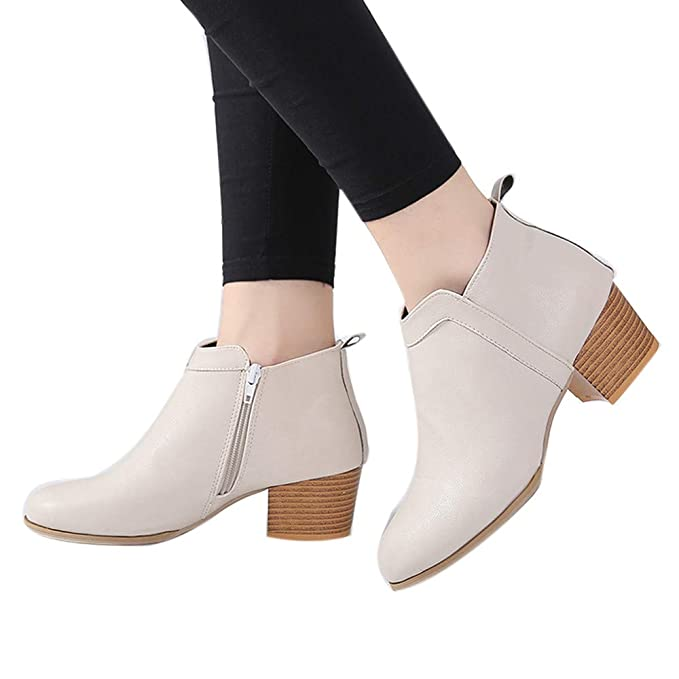 ❤ Botas Cortas de Moda para Mujer, Moda para Mujer Vintage tacón ...