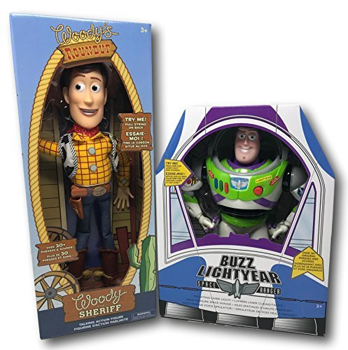 Disney Store Authentic Toy Story 12-Inch Talking Buzz Lightyear and 16-Inch Talking Woody Figures