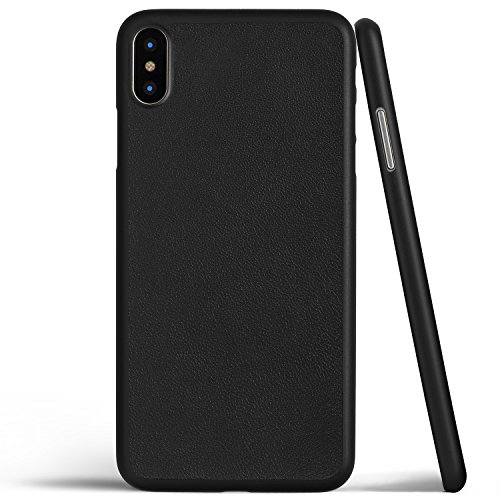 Thin Leather Case for iPhone X (Black) (Fitted Lambskin Leather Case)
