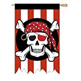 Evergreen A Heart Pirate Puter Banks Outdoor Safe Double-Sided Applique House Flag, 28 x 44 inches