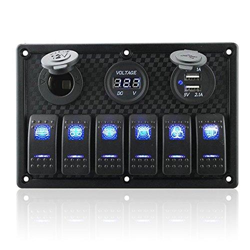 6 Gang Waterproof Rocker Switch Panel Digital Voltmeter Display Dual 5V USB Charger Socket DC 12V Slot Blue LED Light for Car Marine Boat Vehicles