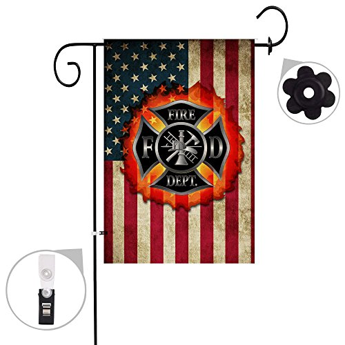 Bonsai Tree Burlap Thin red line Firefighter Spring Garden Flags 12x18 Prime Double-Sided Summer Yard Outdoor Decorative Flag Banner Stopper & Anti-Wind Clip