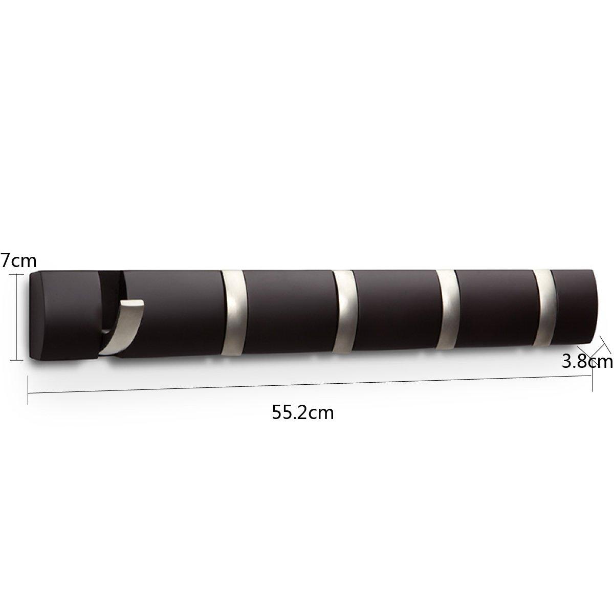 LF DD Wandhaken aus Massivholz Wand Kleiderbügel kreative Veranda Reihe von Haken (Farbe : Schwarz)