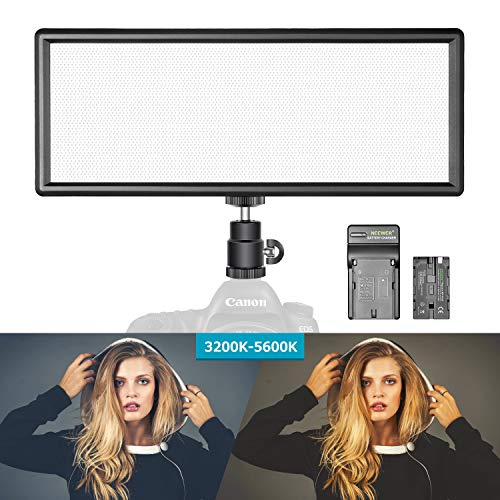 Neewer Super Slim Bi-Color Dimmable LED Video Light with LCD Display, 2600mAh Li-ion Battery and Charger – Ultra High Power LED Panel, 3200K-5600K for Camera Photo Studio Portrait Video Photography