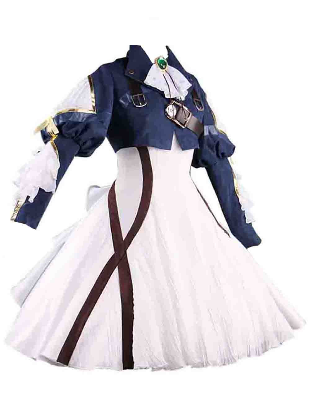 Ainiel Womens Costume Cosplay Anime Uniform Suit Dress Outfit Dark Blue White (L)