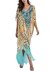 SMUDGE Life Women's White Ethnic Print Kaftan Maxi Dress Summer Beach Dress