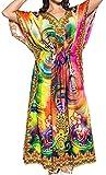 LA LEELA Women's MANDALA Caftan Plus Size HD Designer Drawstring Dress L-4X