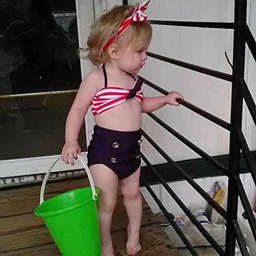 GSCH Baby Girls 3 Pcs Swimwear Striped Halter Bow Top+Bottom+Headband Swimsuit(18-24M) Silk Vintage Suit