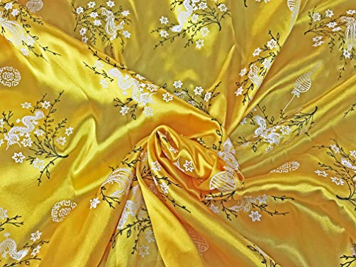 Amornphan 44 Inches Chinese Traditional Floral and Dragon Printed Satin Faux Silk Fabric for Cloth Crafts DIY by The Yard. (Yellow)