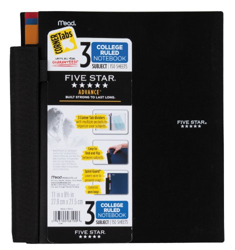 Five Star Advance Spiral Notebook, 3-Subject, 150 College-Ruled Sheets, 11 x 8.5 Inch Sheet Size, Assorted Colors - Color May Vary, 1 Each (08190)