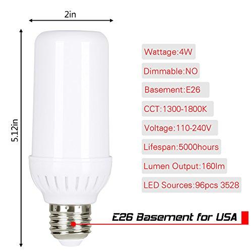 Hogartech Led Flame Effect Fire Light Bulbs E26  Fire