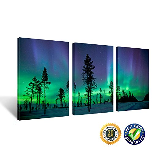 Creative Art - Northern Lights Contemporary Art Photography Prints 3 Panel Modern Wall Decor Wood Mounted Giclee Canvas Print Framed Picture Ready to Hang 16''x24''x3pcs