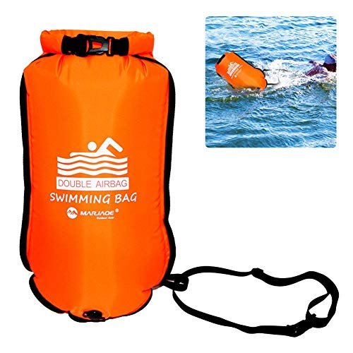 Jingolden Double Airbags Inflatable Swimming Bag Outdoor Sport Water Sports Accessories Waterproof Tear Resistant Nylon PVC Thickened Wear Resistant Swimming Bag