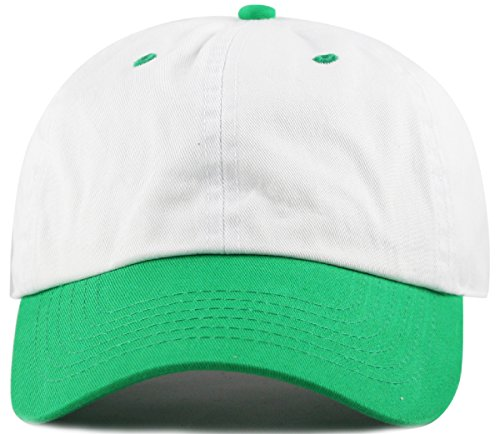 MIRMARU Two Tone 100% Cotton Stonewashed Cap Adjustable Hat Low Profile Baseball Cap.(Kelly Green)
