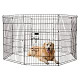 Ollieroo Dog Playpen Exercise Pen Cat Fence Pet Outdoor Indoor Cage 8 Panel Black E-coat Small (24'' W x 36'' H)