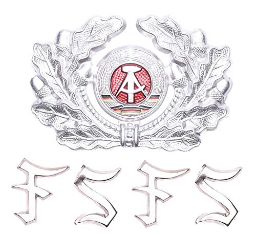 - East German DDR Army Military NVA Soldier Aluminium Hat Cockade Cap Badge + 4 Warrant Officer - Cadet rank pins (F,S Letters)