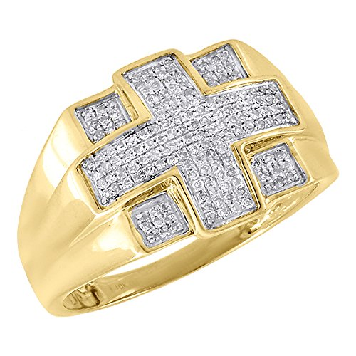 - 10K Yellow Gold Diamond Cross Mens Pave Pinky Ring Round Cut 0.29 Cttw