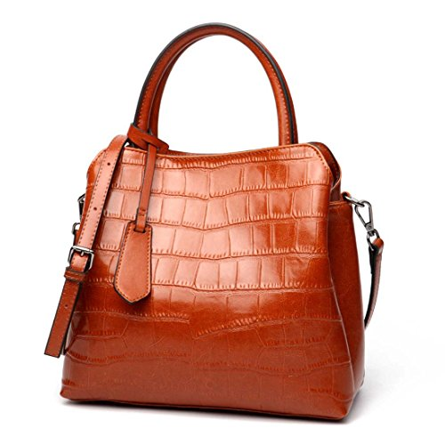 Bolso de la mujer Bolso grande de satchel en relieve Bolso de Crossbody Bolso de hombro rojo Flip Square POR WTING ( Color : 4 ) 1