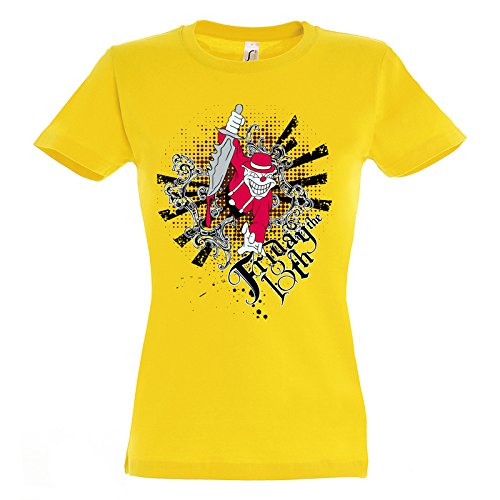 Friday The 13th Crazy Skeleton With Knife Smile From Body Awesome Design Women Damen Yellow T-shirt