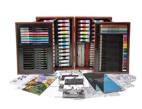 Art 101 Platinum Edition 154-Piece All Media Artist's Set with Wooden Organizer Carrying Case, Includes Sketch Papers and Coloring Pages Plus Hand Lettering Practice Pages, Premium Quality ()