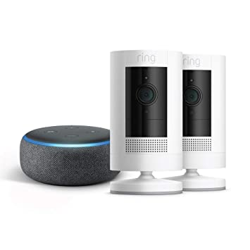4th Gen - Charcoal with Echo Dot White Ring Stick Up Cam Battery HD security camera