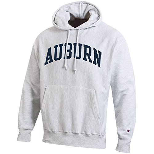 (Champion NCAA Men's Reverse Weave Gray Arch Long Sleeve Hooded Sweatshirt, Silver/Grey, Medium )