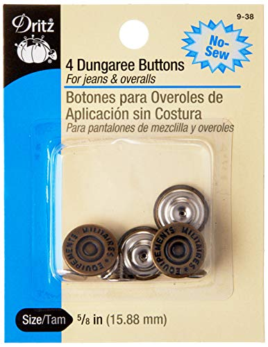 Dritz 9-38 No-Sew Dungaree Buttons, Antique Brass, 5/8-Inch 4-Count
