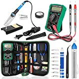 Soldering Iron Kit with Digital Multimeter, HANDSKIT Soldering Iron Kit Electronics, 60W Adjustable Temperature Welding Tool with ON-OFF Switch, 12-in-1 Soldering Iron Kit, 2pcs Tips, Desoldering Pump