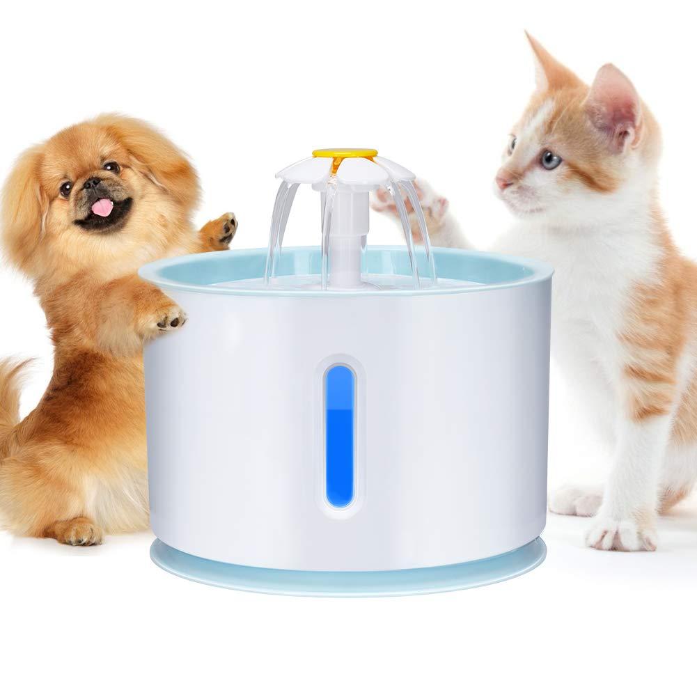 Haofy Fontana per Gatti e Fiori di Cane con Filtro e luci a LED, 2,4L