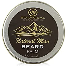 Natural Man Original Beard Balm with Jojoba and Argan Oils - All Natural Beard Conditioner By Botanical Skinworks, 2 Ounce